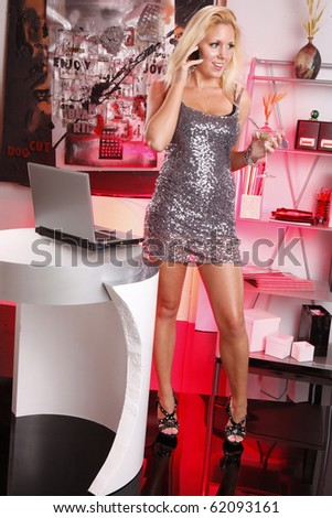 Office party - just turn the red lights on - stock photo