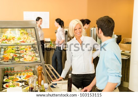 Office people at cafeteria chatting hold serving tray canteen self-service - stock photo