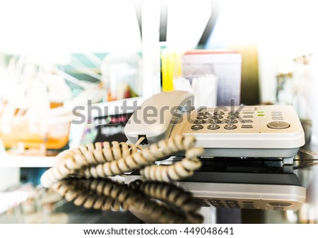 Office phone on the desk , Selective focus on Phone keypad - stock photo