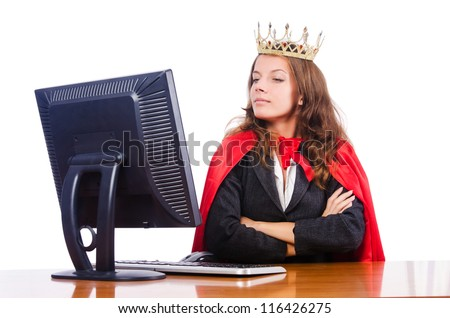 Office queen isolated on the white - stock photo