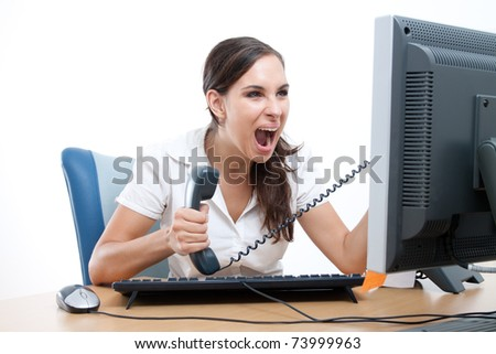 Office rage series - businesswoman received bad news over the phone and is screaming in rage. - stock photo