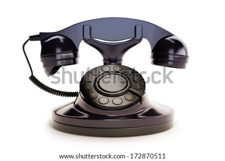 Office Retro Telephone Black on a white background - stock photo