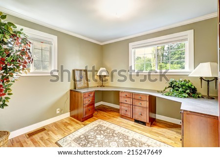 Office room furniture. Counter top with cabinets and drawers - stock photo