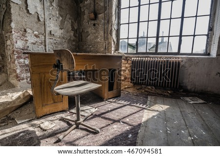 office room in abandoned factory