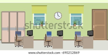 Office room interior including three work spaces with furniture. Flat style illustration.