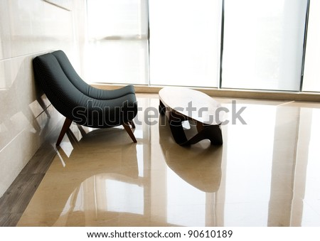 Office room with chairs and table. Floor reflection - stock photo