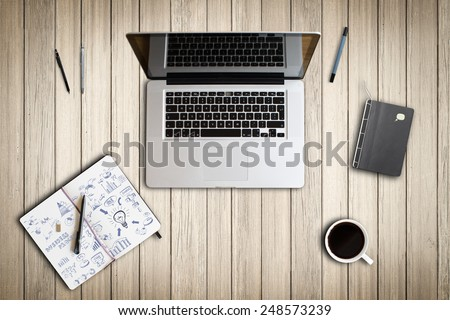 office scene from above - stock photo
