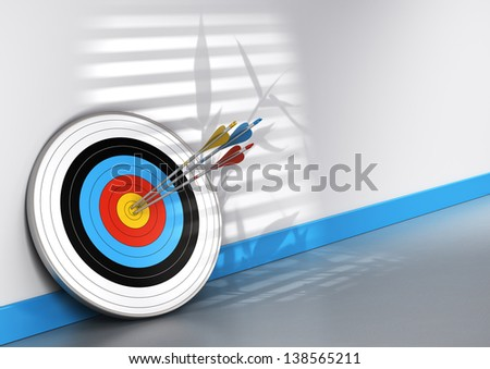 Office scene, one target and three arrows with different colors hitting the center, conceptual image for achieving teamwork objective. - stock photo