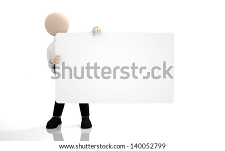 Office scenes (3d  people - your empty board ) - stock photo