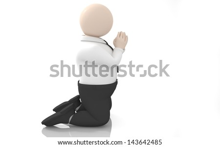 Office scenes (prayer) - stock photo