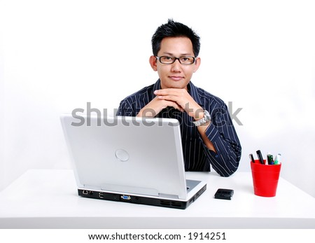 Office series - relaxing infront of computer - stock photo