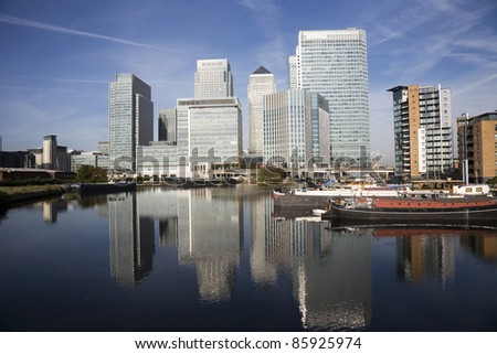Office skyscrapers in Canary Wharf. Canary Wharf is the main financial district at London
