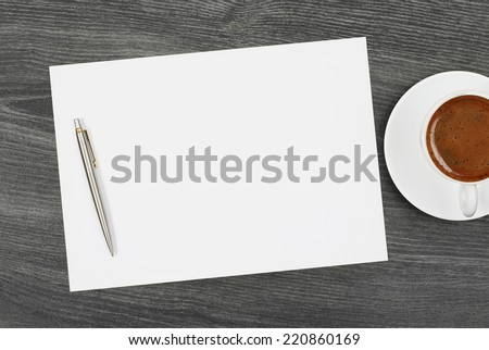 Office space Blank paper with pen and coffee - stock photo