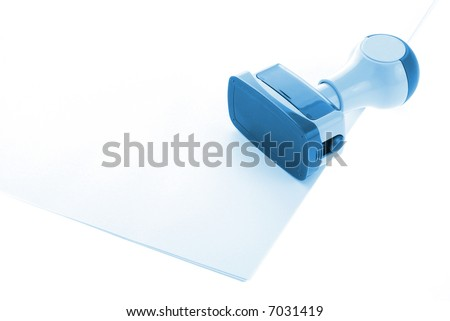 Office  stamp over paper in blue - stock photo