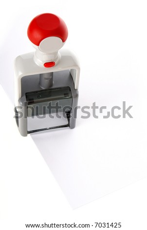 Office  stamp over white paper - stock photo