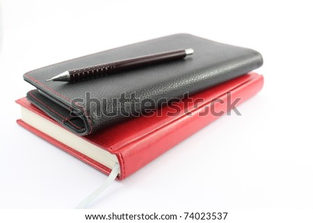 office stationery are in a white background