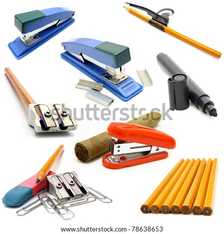 Office stationery tool set over white background - stock photo