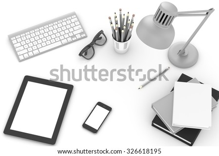 office stuff on table, workplace, top view - stock photo