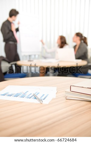 Office suply - business meeting in background, group of people - stock photo