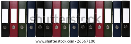 Office Supplies - Lever Arch Folders, Isolated on White, can be Joined or Stacked Together to form Indefinite Chain - stock photo