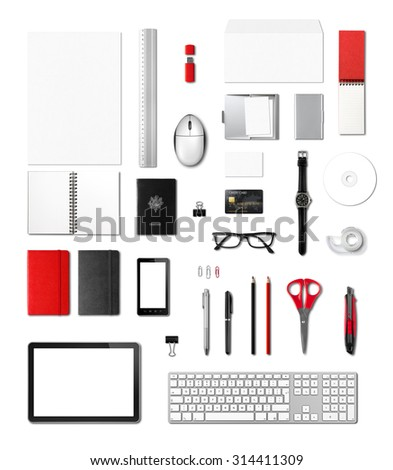 Office supplies mockup template, isolated on white background - stock photo
