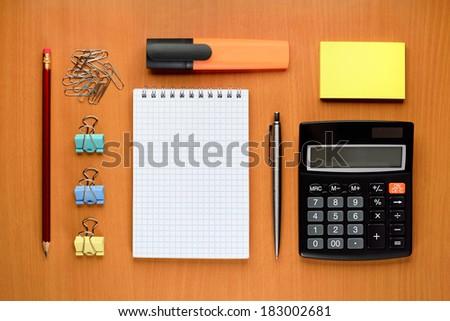 Office supplies on desk - stock photo