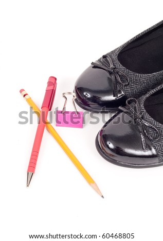 Office Supplies with Womens Fashion Shoes - stock photo
