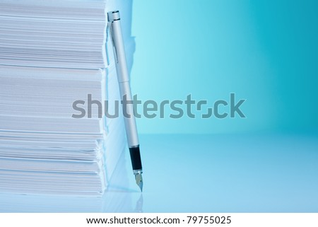 Office supply  - fountain paper and pen - stock photo