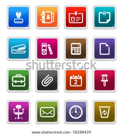Office Supply Sticker Icons isolated over white background - sticker series - stock photo