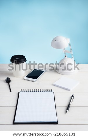 Office table and equipment - stock photo