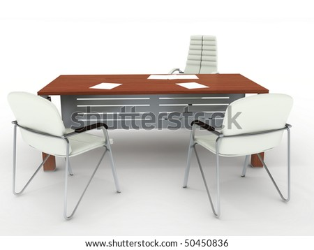 Office table and two armchairs. On light grey background - stock photo