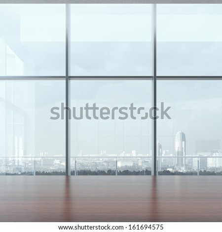 Office table and window - stock photo