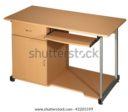 Office table isolated on the white background - stock photo