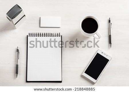 Modern White Office Desk Table Laptop Stock Photo