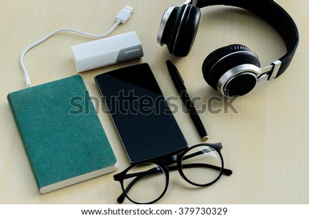 Office table top view  flat lay - stock photo