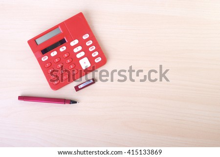Business Word Office Table Calculator Computer Stock Photo