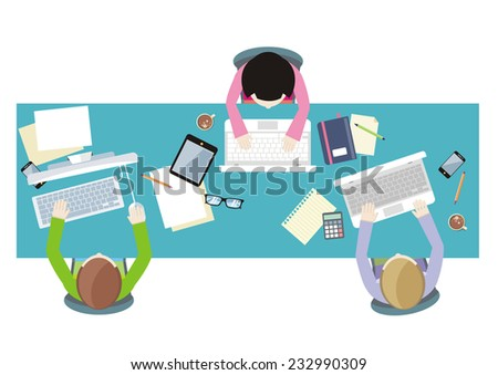 Office teamwork workers business management meeting and brainstorming on square table in top view flat design cartoon style. Raster version - stock photo