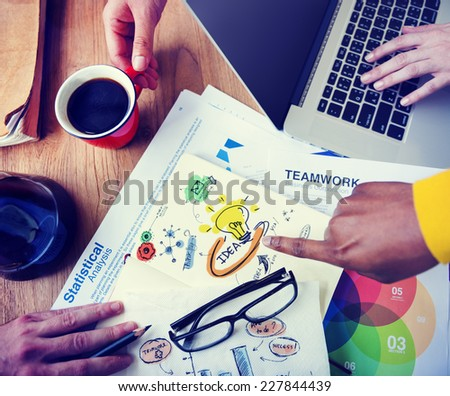 Office Teamwork Working Brainstorming Ideas Statistical Business Concept - stock photo