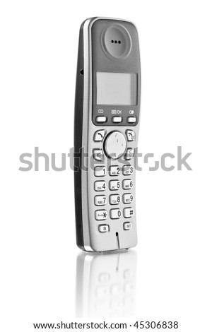 office telephone. digital cordless answering system isolated on white - stock photo