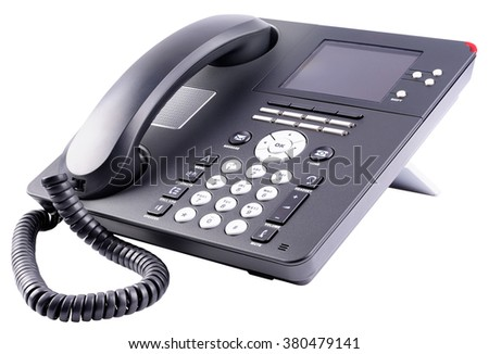 Office telephone set with large LCD isolated on the white