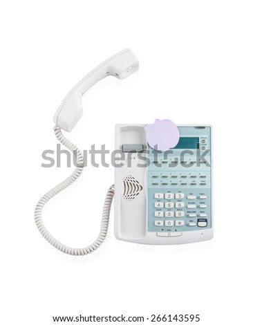 Office telephone with note pad isolated on white  - stock photo