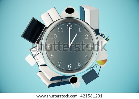 Office tools around big clock on blue background. Time management concept. 3D Rendering - stock photo
