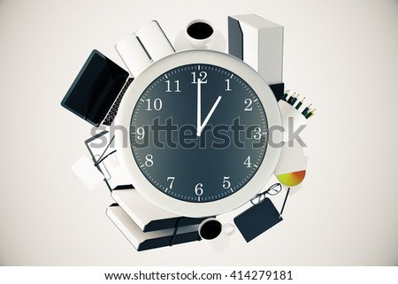 Office tools around big clock on light background. Time management concept. 3D Rendering - stock photo