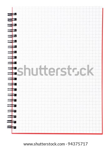 Office tools - blank page of a notebook with black binder and red cover isolated on white background