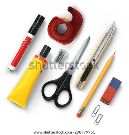 Office tools.Diagonal.Marker.Tape dispenser.Glue.Sharpener.Scissors.Cutter knife.Pencil.Eraser.Clip.Realistic 3D rendering.Isolated on white background.Top view. - stock photo