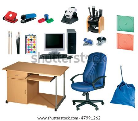 office tools, stationery set isolated on white background - stock photo