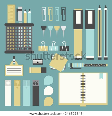 Office tools, supplies, and stationery icons set - Flat design - stock photo