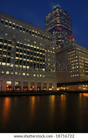 Office tower at Canada Square, Canary Wharf, London, England - stock photo