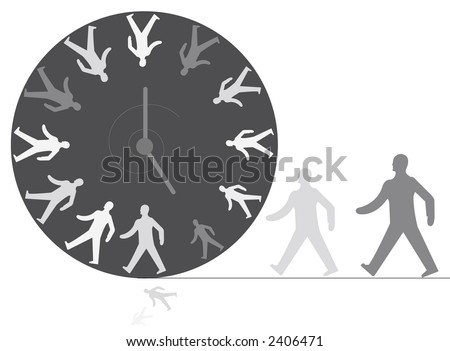 Office Walking Man Clock Time Out - stock photo