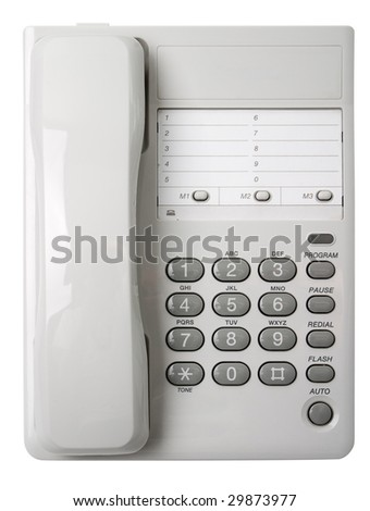 Office white phone. Isolated on a white background. View from above. - stock photo